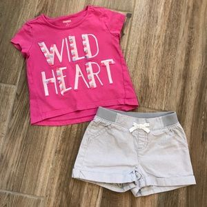 Gymboree Wild Heart Top and Shorts Set 3T